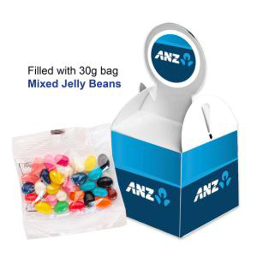 Picture of Billboard Cube with 30g unbranded bag of Corproate Coloured Choc Beans