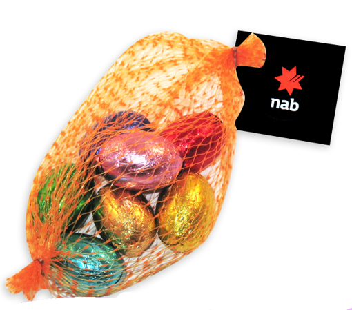 Picture of Mesh Bag Filled with 50g Solid Milk Chocolate Eggs